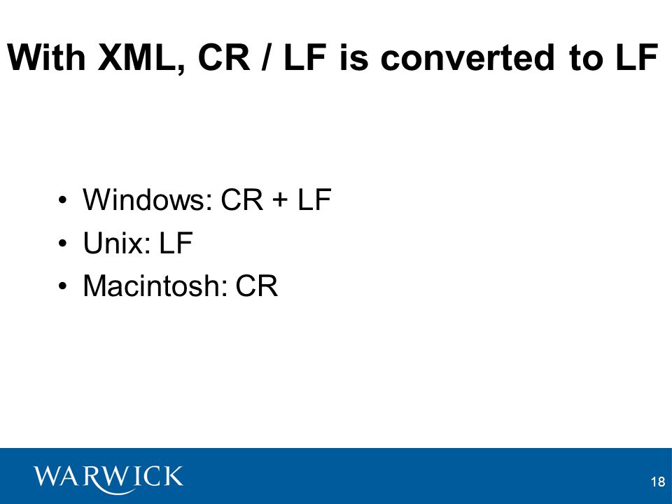 With XML, CR / LF is converted to LF