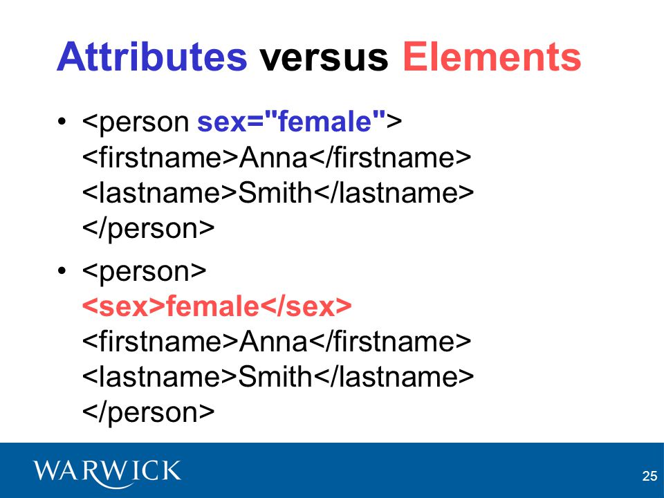 Attributes versus Elements