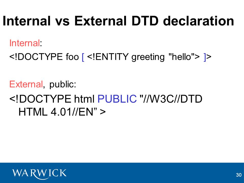 Internal vs External DTD declaration