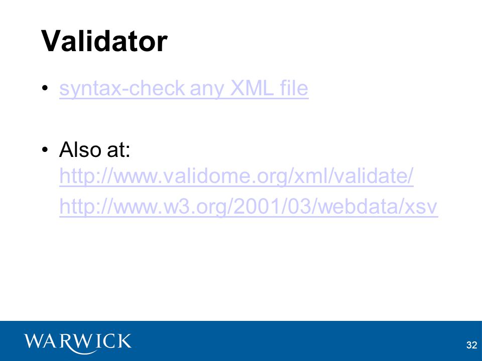 Validator syntax-check any XML file