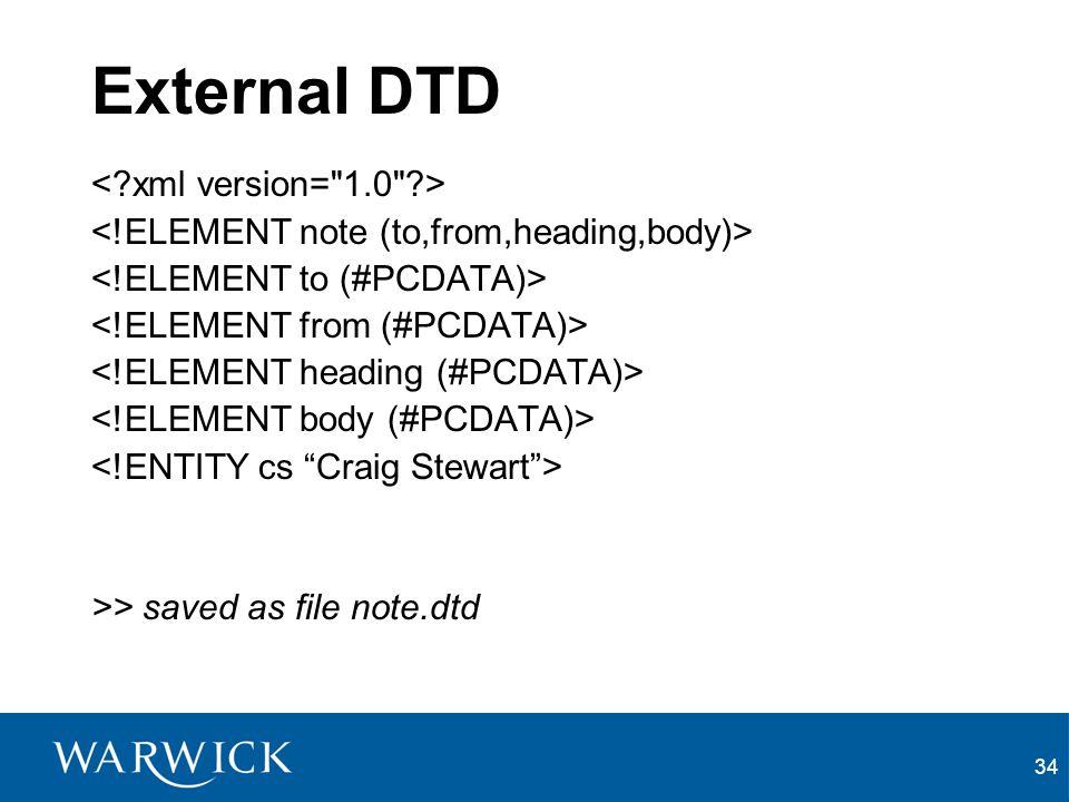 External DTD < xml version= 1.0 >