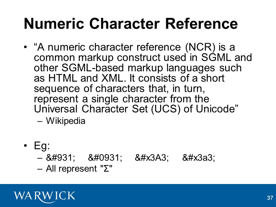 Numeric Character Reference