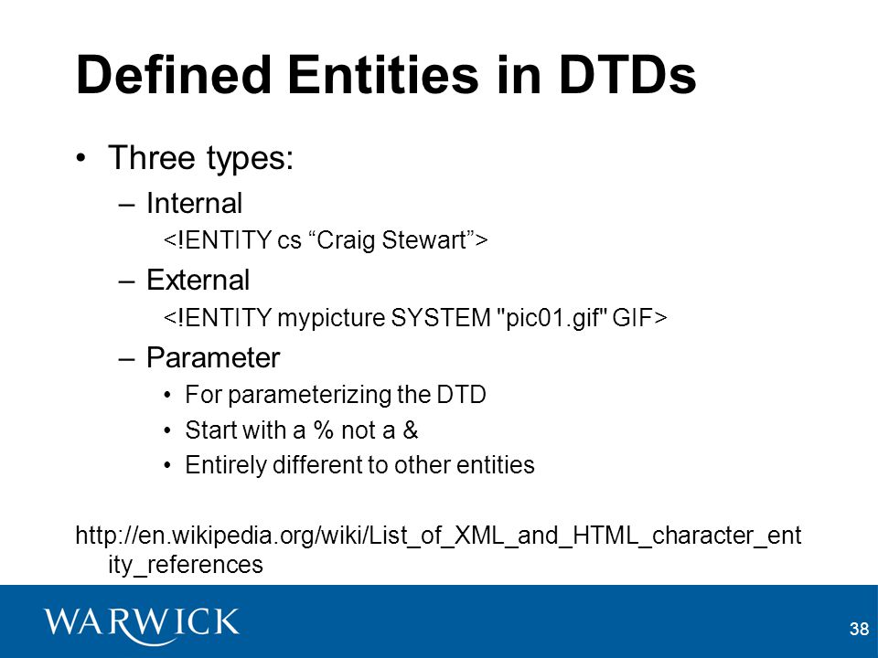 Defined Entities in DTDs
