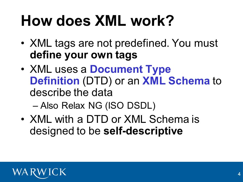 How does XML work XML tags are not predefined. You must define your own tags.