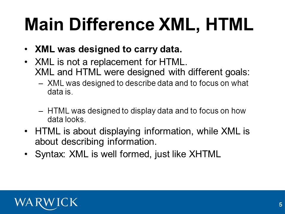 Main Difference XML, HTML