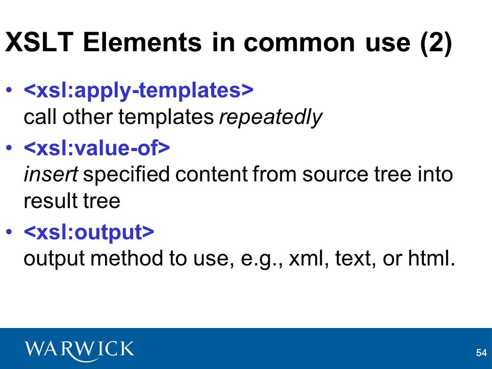 XSLT Elements in common use (2)