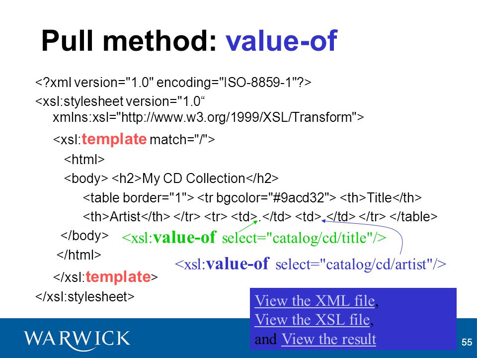 Pull method: value-of <xsl:value-of select= catalog/cd/title />
