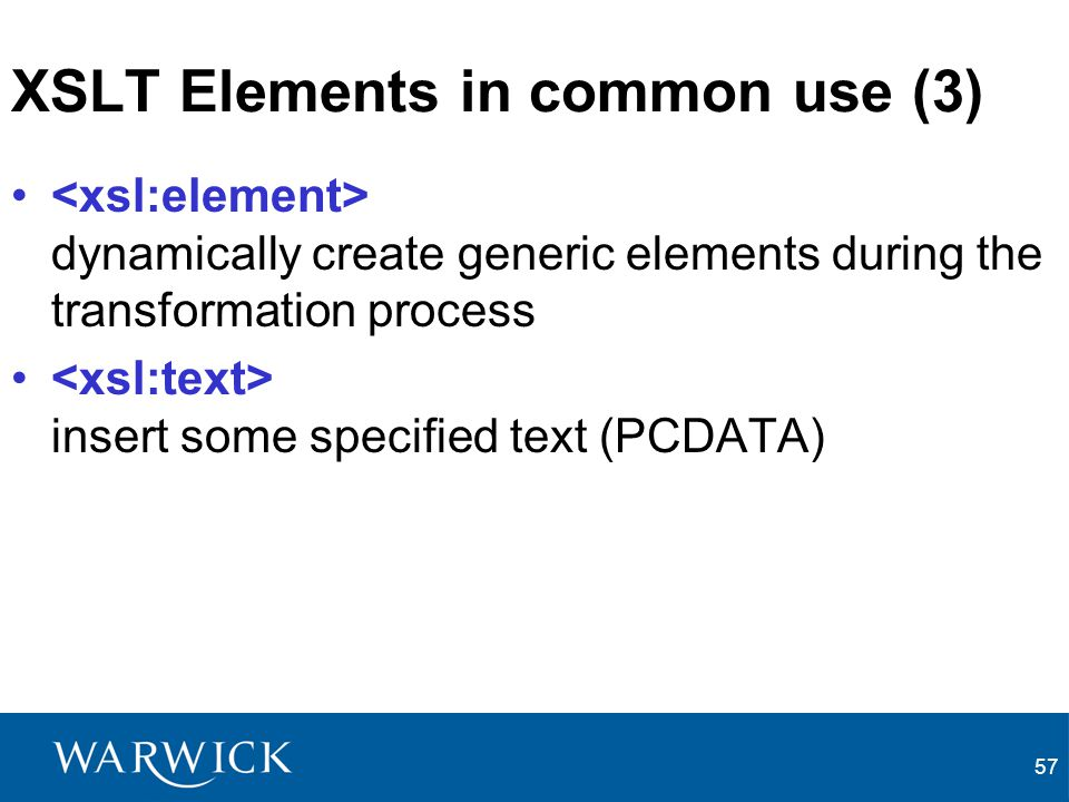 XSLT Elements in common use (3)