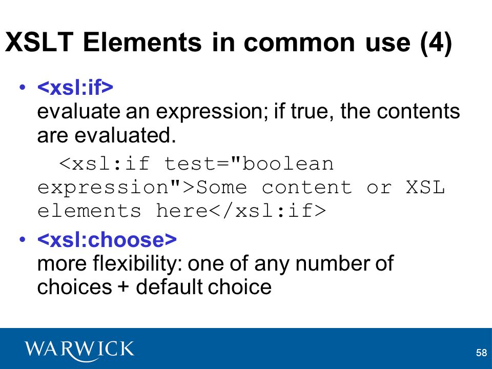 XSLT Elements in common use (4)