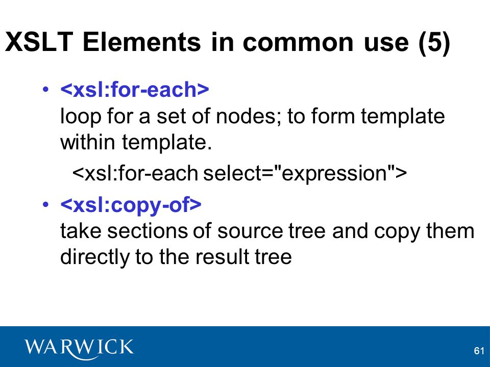 XSLT Elements in common use (5)