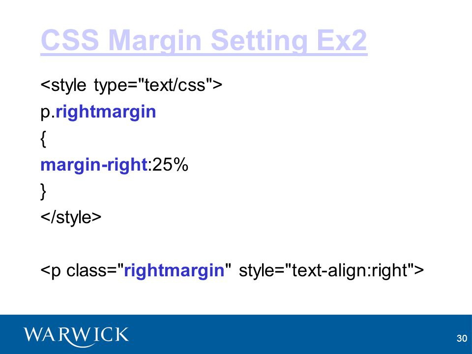 CSS Margin Setting Ex2 <style type= text/css > p.rightmargin {