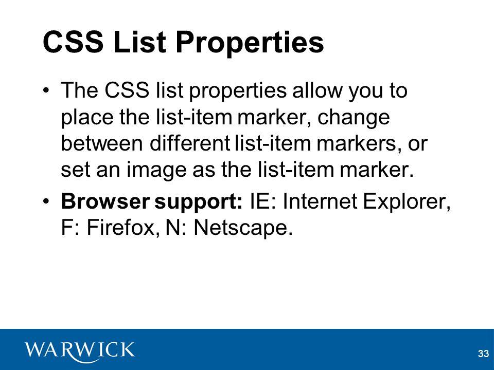 CSS List Properties