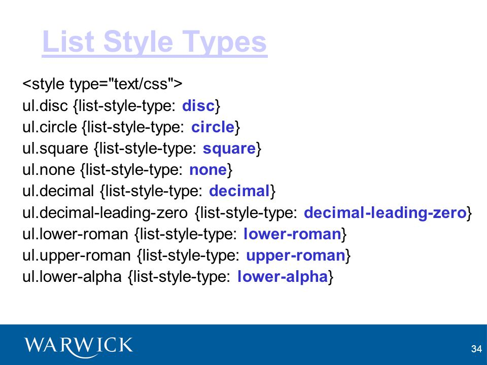 List Style Types <style type= text/css >