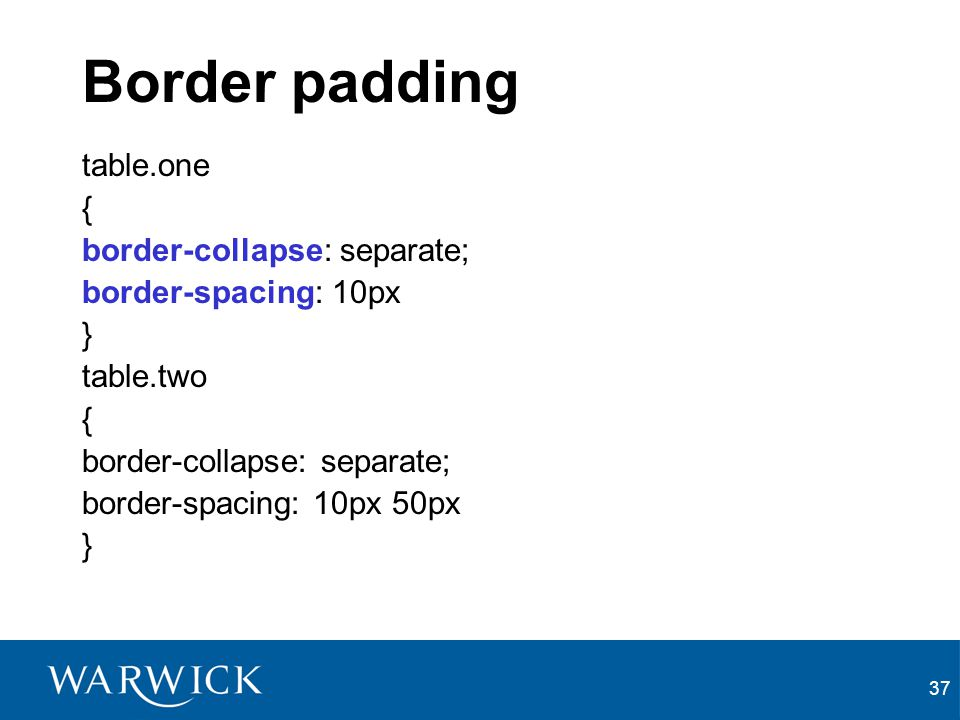 Border padding table.one { border-collapse: separate;