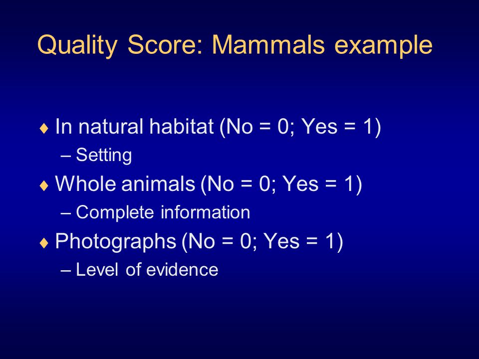 Quality Score: Mammals example