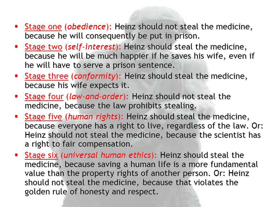 Stage one (obedience): Heinz should not steal the medicine, because he will consequently be put in prison.