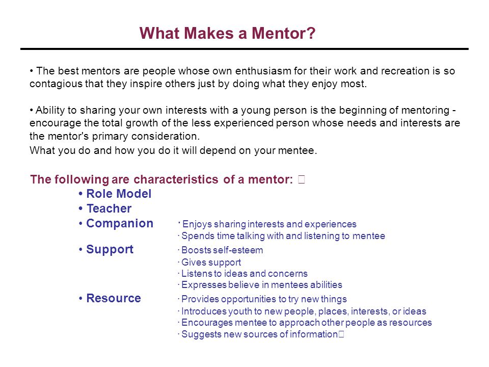 What Makes a Mentor The following are characteristics of a mentor:
