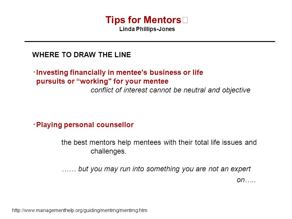 Tips for Mentors WHERE TO DRAW THE LINE