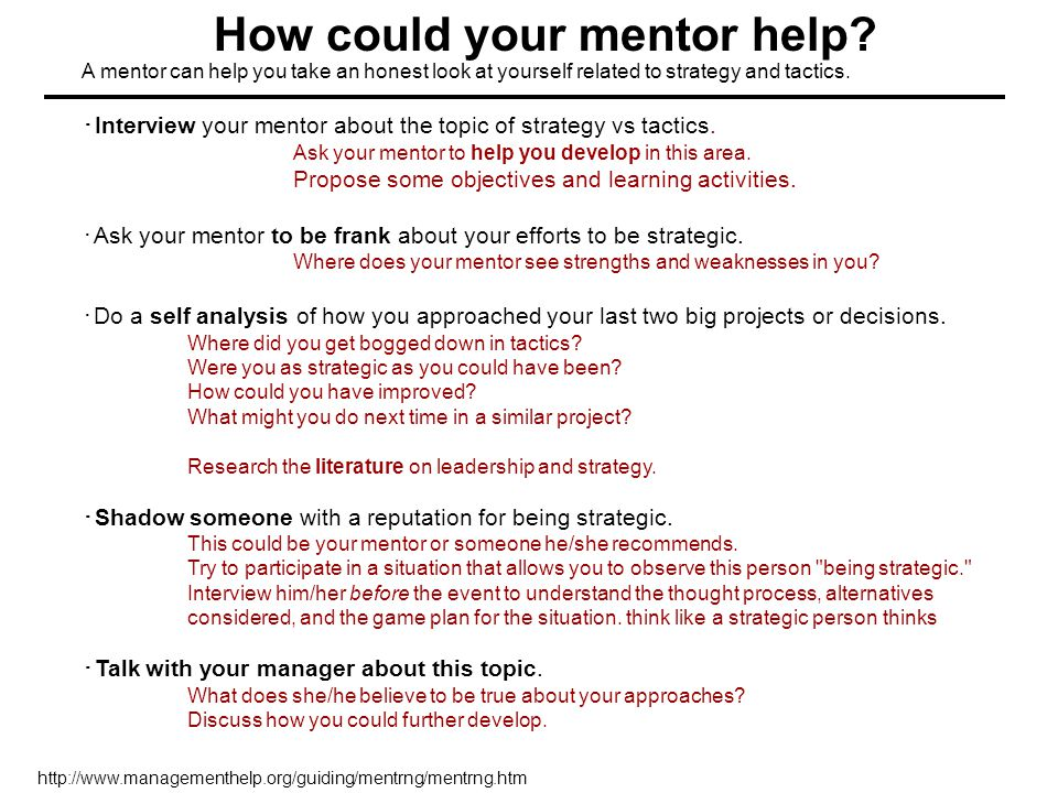How could your mentor help