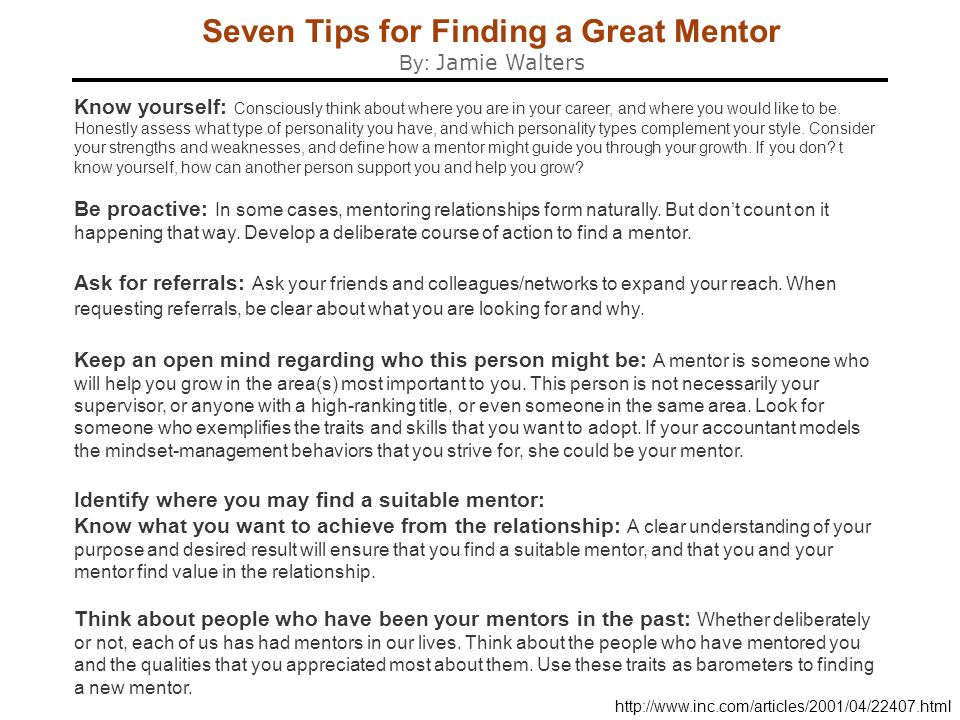 Seven Tips for Finding a Great Mentor