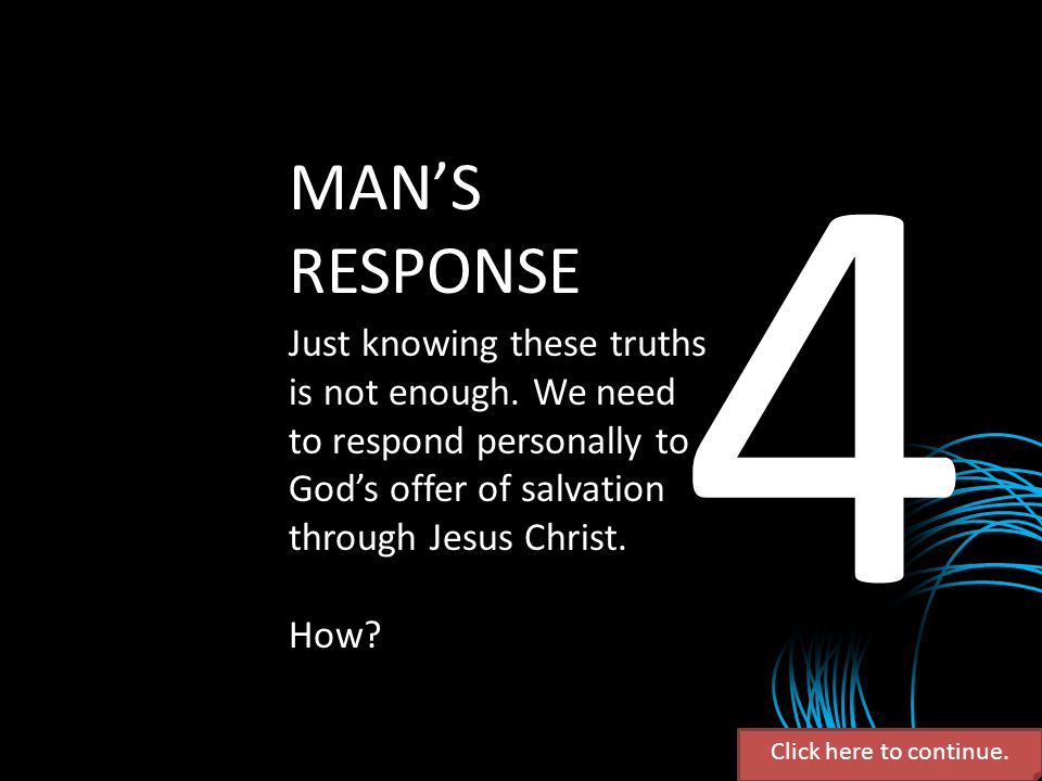 4 MAN'S. RESPONSE. Just knowing these truths is not enough. We need to respond personally to God's offer of salvation through Jesus Christ.