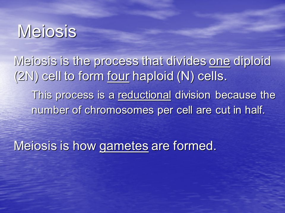 Meiosis Meiosis is the process that divides one diploid (2N) cell to form four haploid (N) cells.