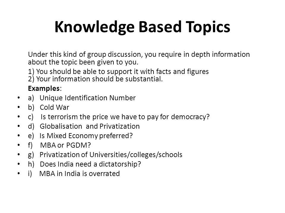 Knowledge Based Topics