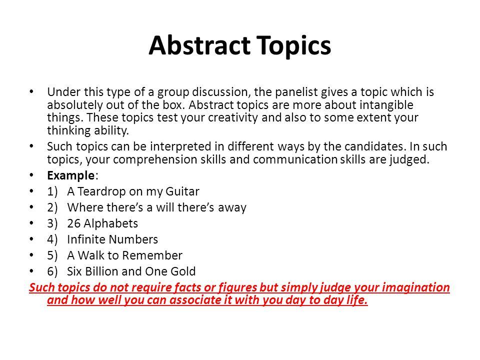 Abstract Topics