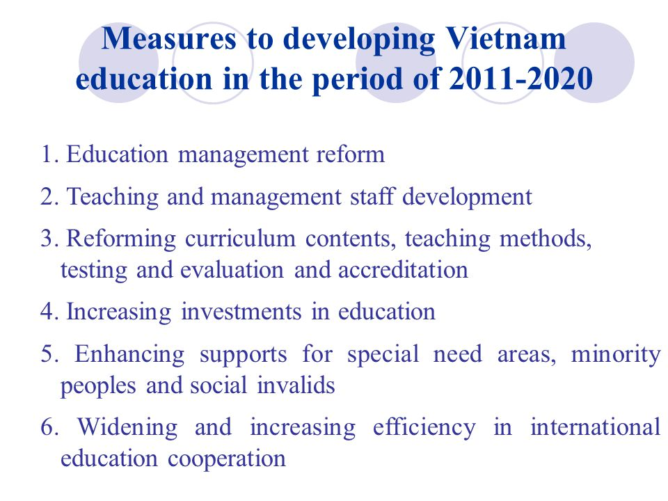 Measures to developing Vietnam education in the period of 2011-2020