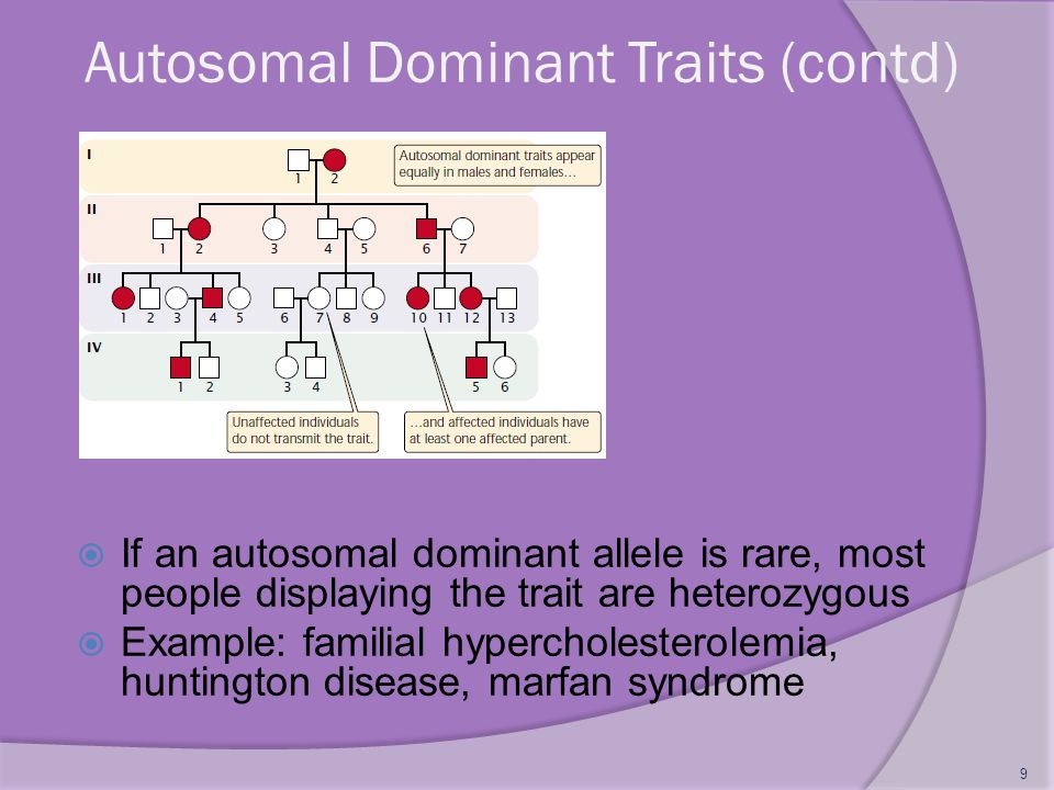 Autosomal Dominant Traits (contd)