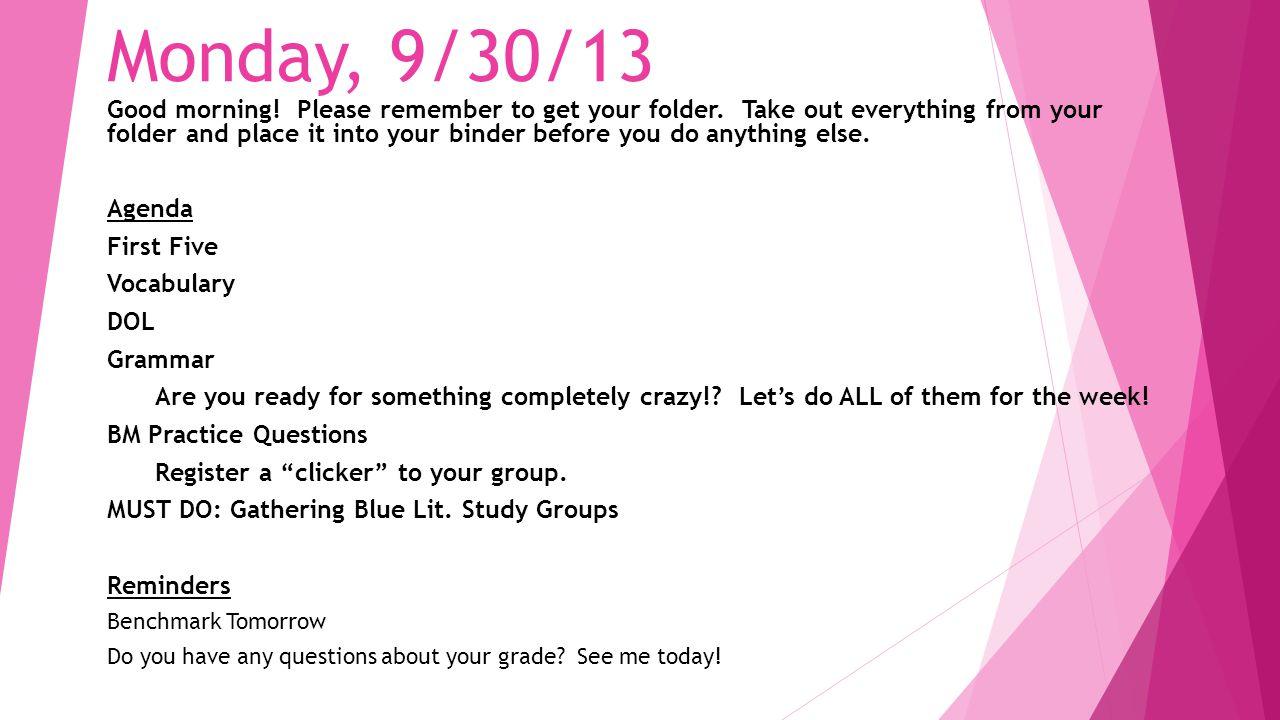 Monday, 9/30/13