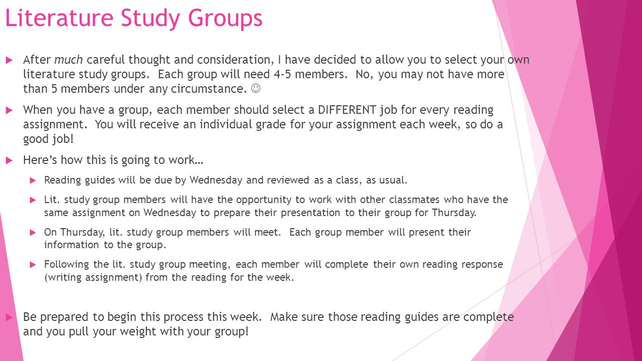 Literature Study Groups