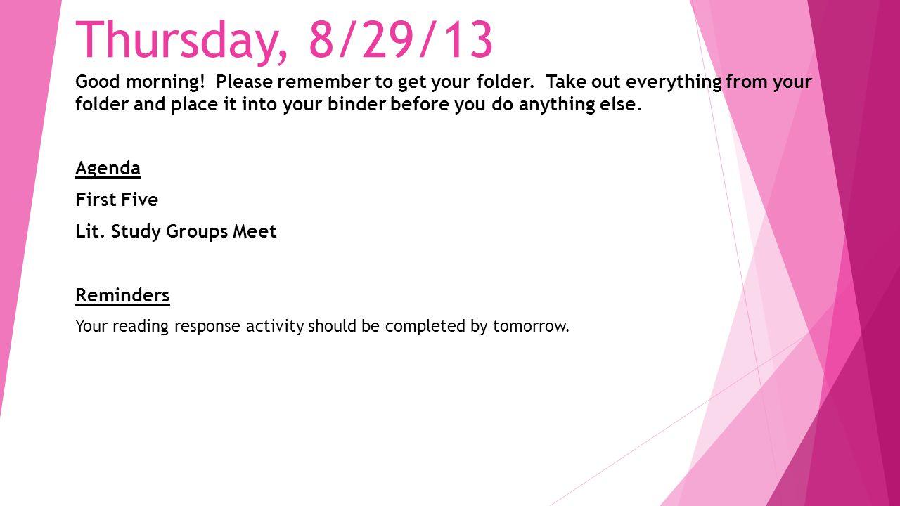 Thursday, 8/29/13