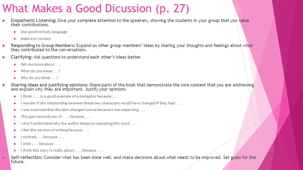 What Makes a Good Dicussion (p. 27)