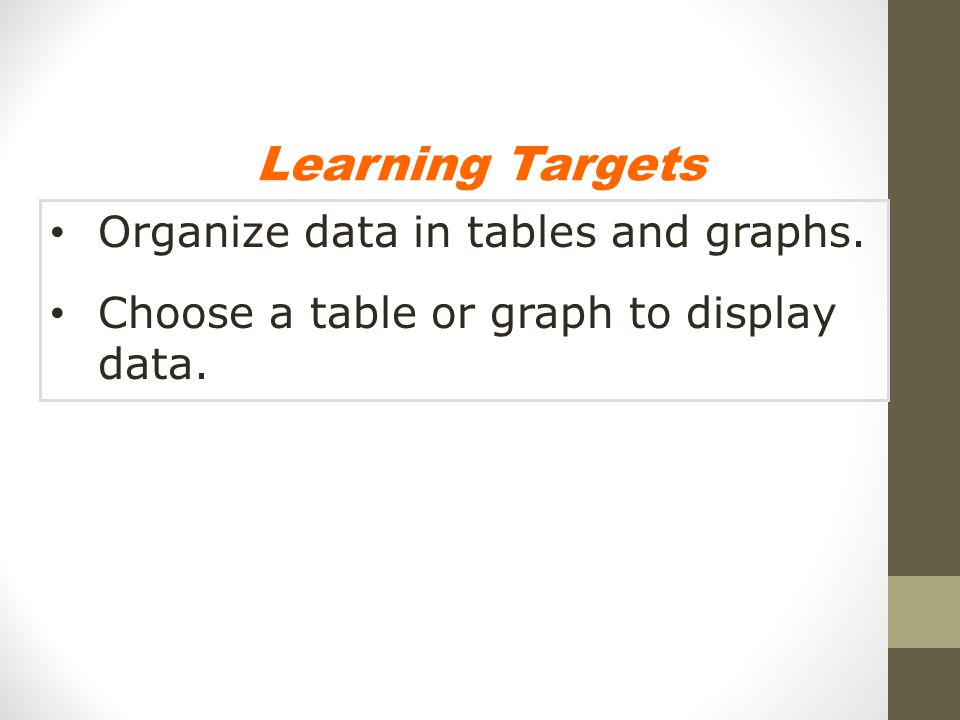 Learning Targets Organize data in tables and graphs.