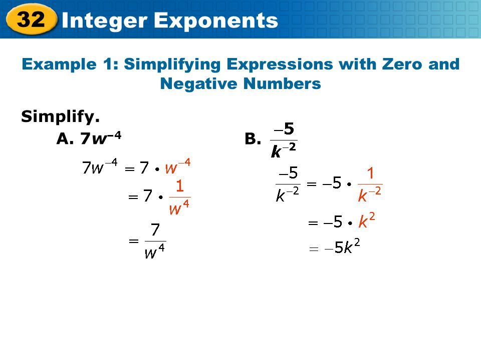 Example 1: Simplifying Expressions with Zero and Negative Numbers