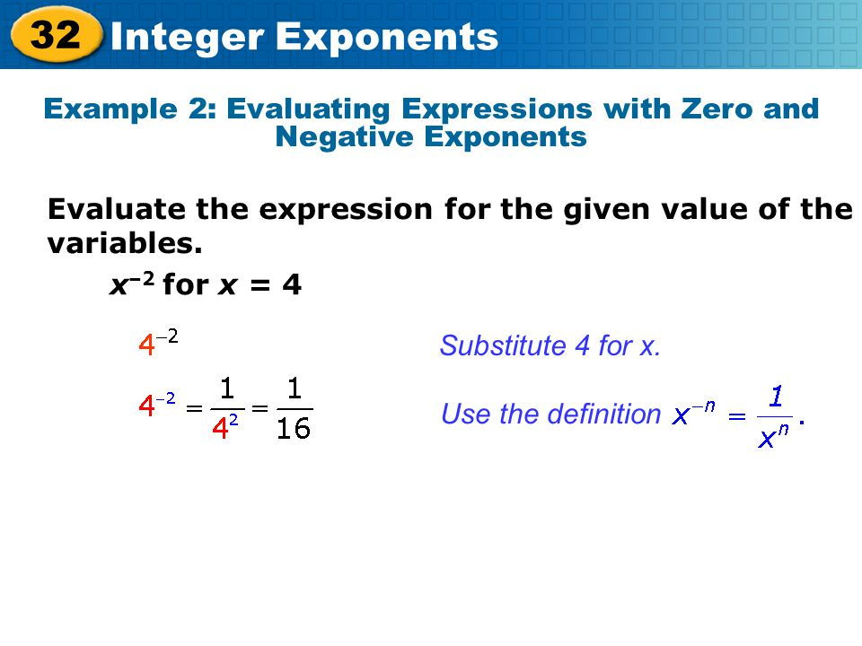 Example 2: Evaluating Expressions with Zero and Negative Exponents