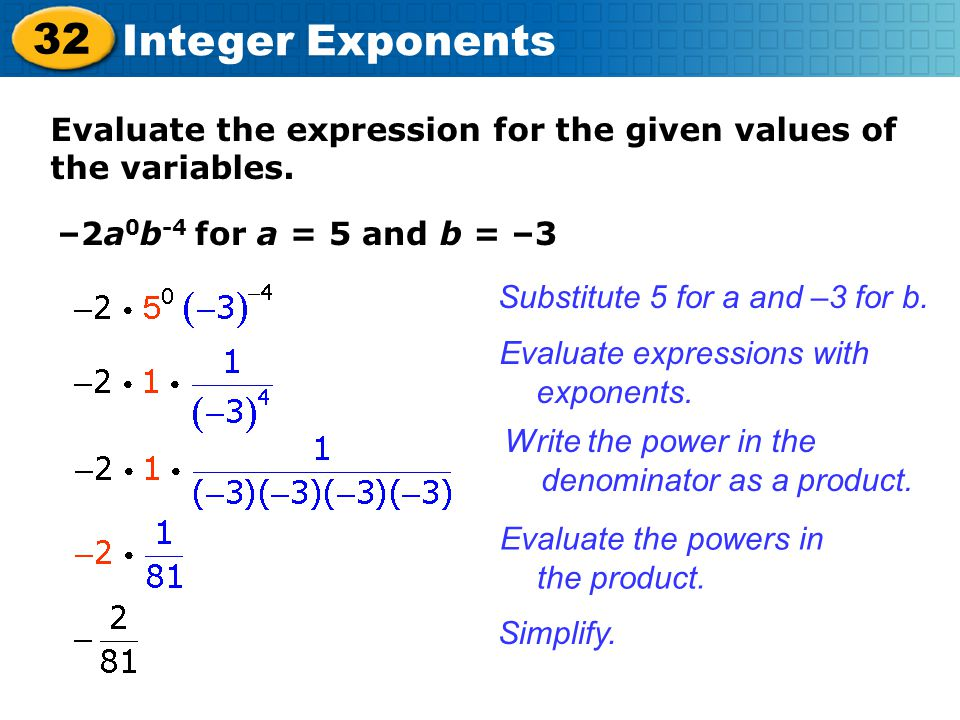 Evaluate the expression for the given values of the variables.