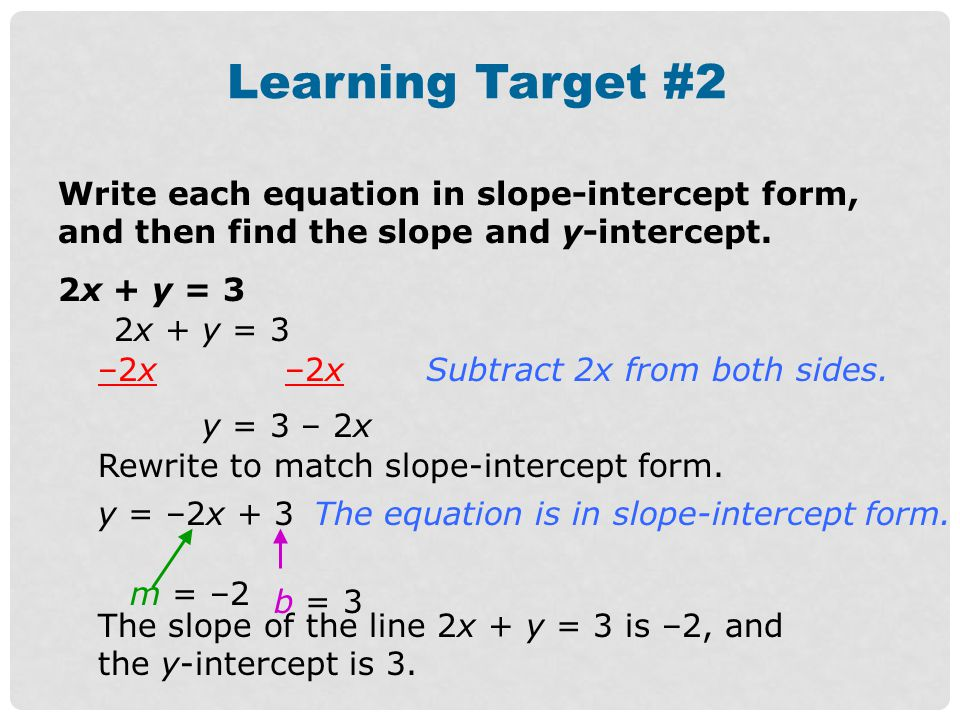 Learning Target #2 Write each equation in slope-intercept form, and then find the slope and y-intercept.