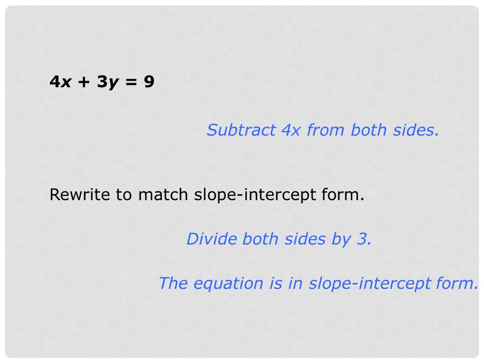 4x + 3y = 9 Subtract 4x from both sides. Rewrite to match slope-intercept form. Divide both sides by 3.