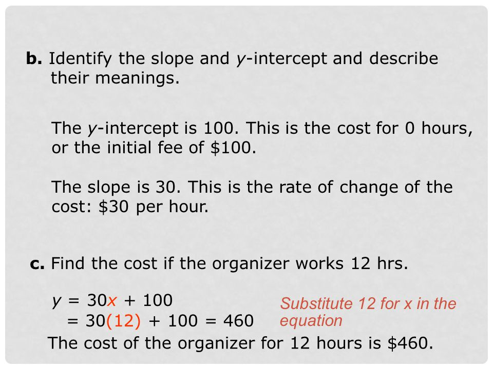 b. Identify the slope and y-intercept and describe their meanings.