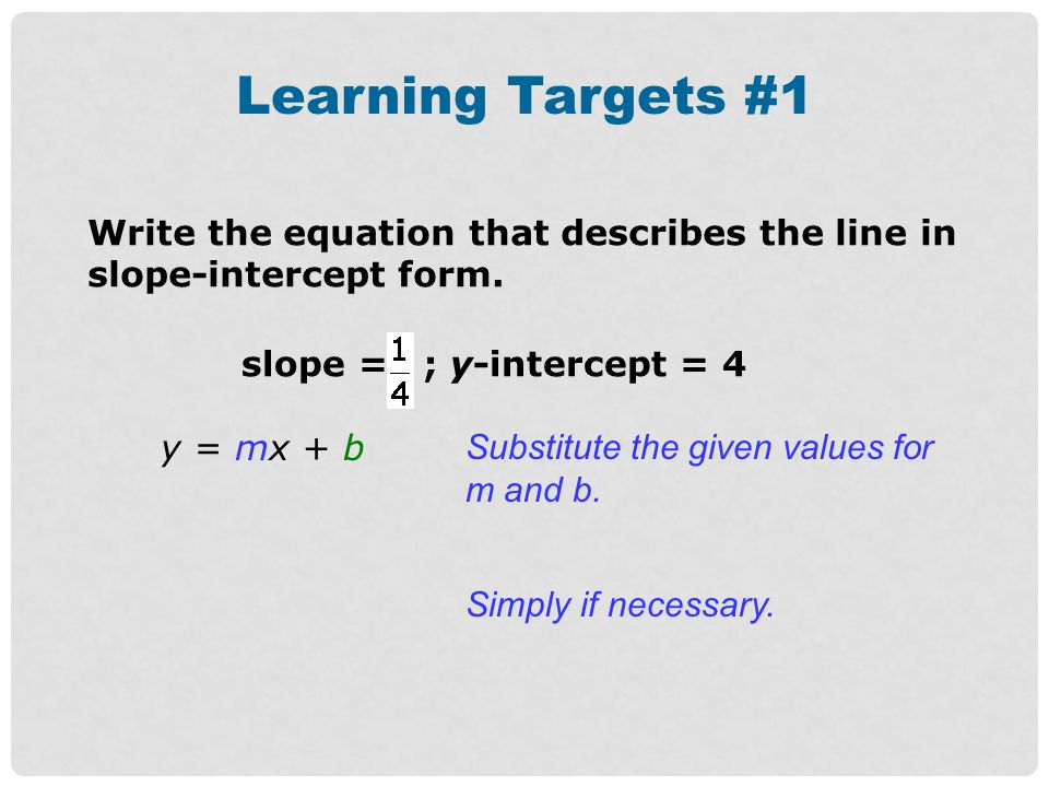 Learning Targets #1 Write the equation that describes the line in slope-intercept form. slope = ; y-intercept = 4.
