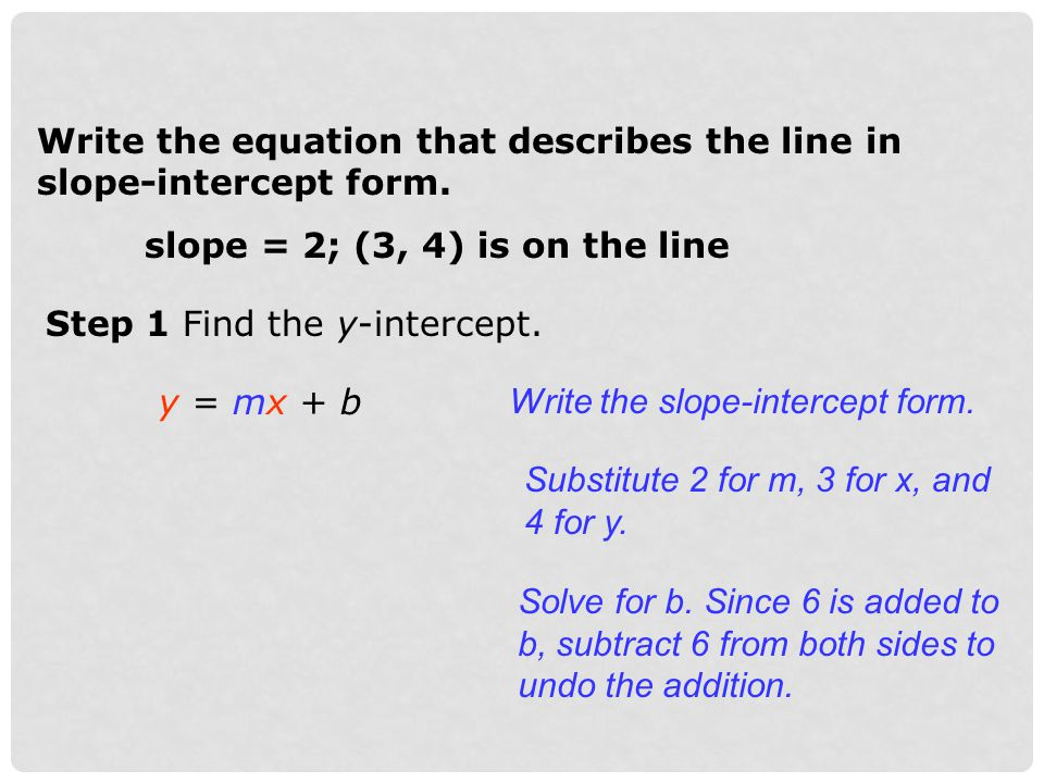 Write the equation that describes the line in slope-intercept form.
