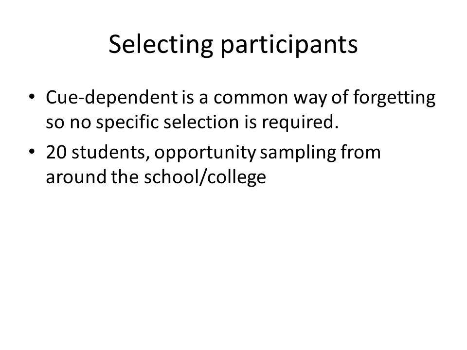 Selecting participants