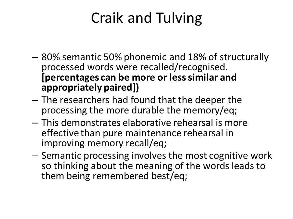 Craik and Tulving