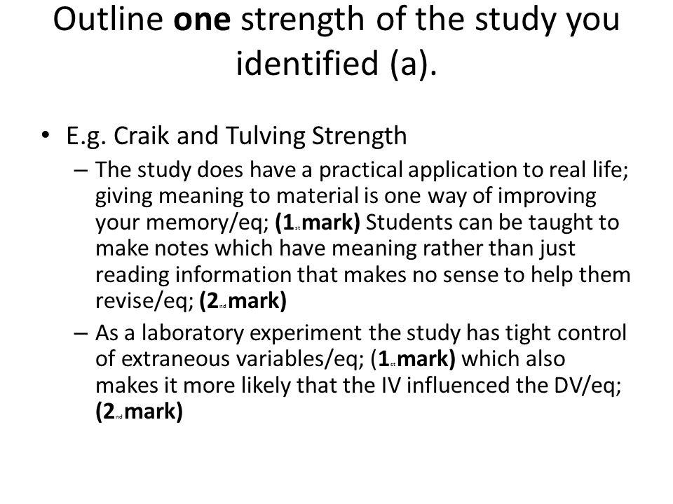 The experiment research study craik and