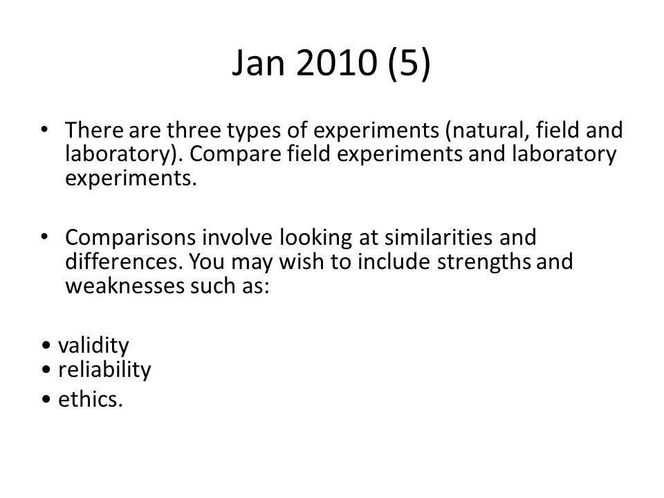 Jan 2010 (5) There are three types of experiments (natural, field and laboratory). Compare field experiments and laboratory experiments.