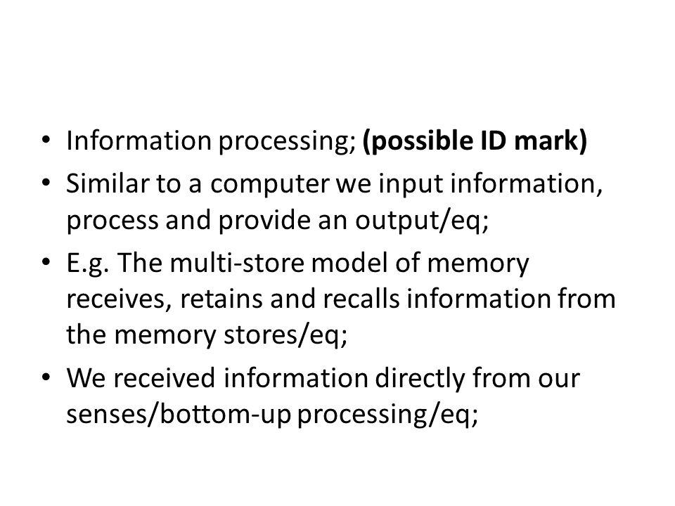 Information processing; (possible ID mark)