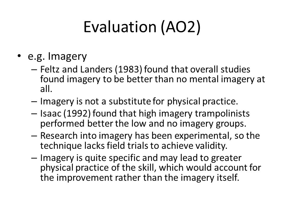 Evaluation (AO2) e.g. Imagery