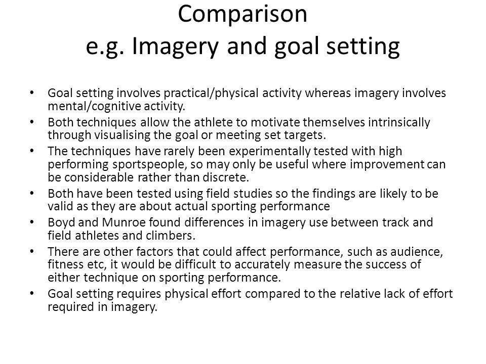 Comparison e.g. Imagery and goal setting